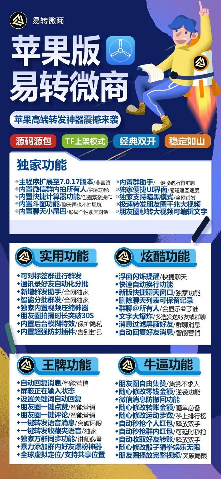 【苹果易转微商官网】新品双开TF模式微信一键转发