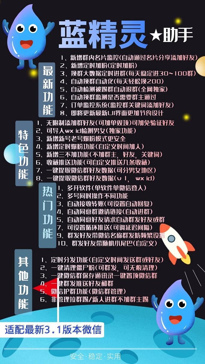 【电脑版蓝精灵助手官网】高端新版微信多开 群发加人自动换群护群功能